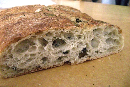 Herb and olive ciabatta